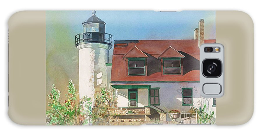 Point Betsie Galaxy S8 Case featuring the painting Point Betsie Lighthouse by LeAnne Sowa