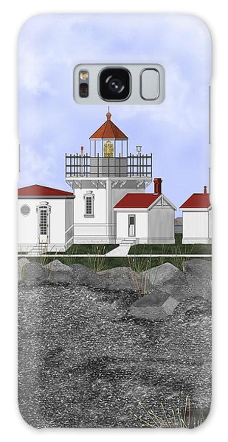 Lighthouse Galaxy S8 Case featuring the painting Point No Point Lighthouse by Anne Norskog