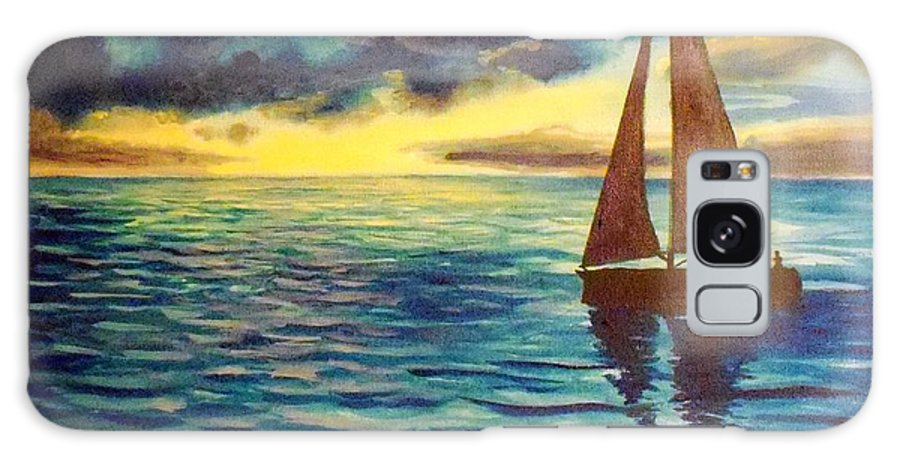 Sailboat Sunset Sunrise Blue Lake Ocean Galaxy S8 Case featuring the painting Points Unknown by William Tremble