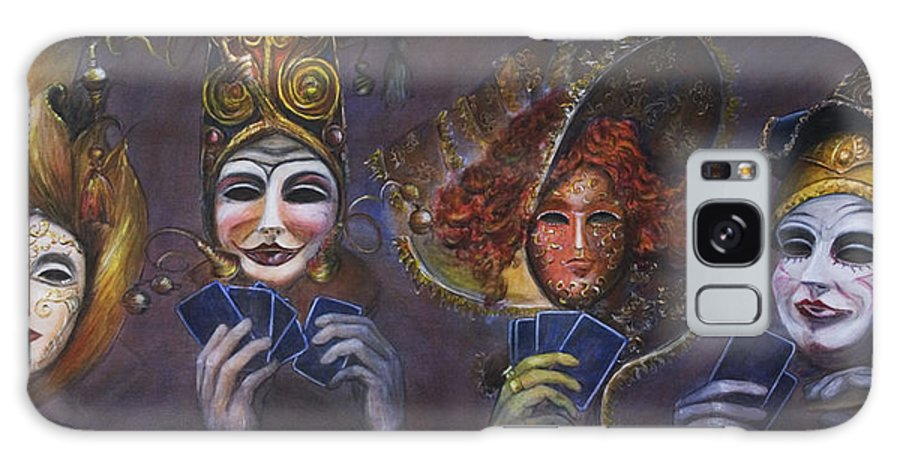 Masks Galaxy Case featuring the painting Poker Face by Nik Helbig