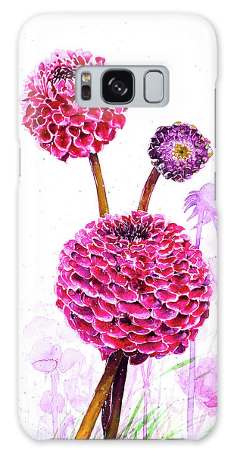 Pompon Galaxy S8 Case featuring the painting Pompon Dahlias by Zaira Dzhaubaeva