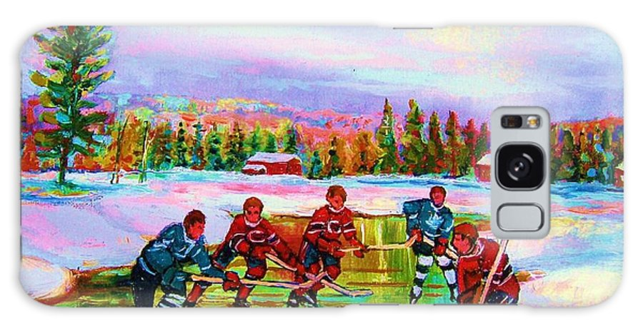 Hockey Galaxy Case featuring the painting Pond Hockey Blue Skies by Carole Spandau