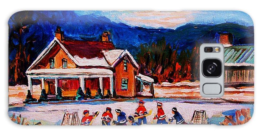 Hockey Galaxy S8 Case featuring the painting Pond Hockey by Carole Spandau