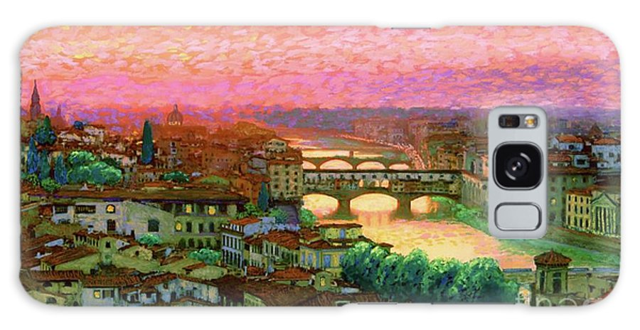 Italy Galaxy Case featuring the painting Ponte Vecchio Sunset Florence by Jane Small