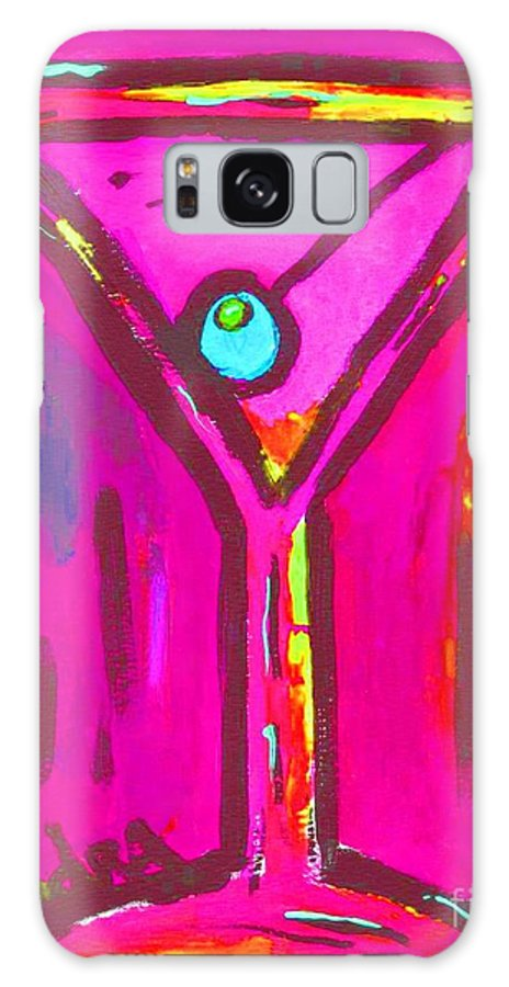 Martini Galaxy S8 Case featuring the painting Pop Art Martini Pink Neon Series 1989 by Sidra Myers