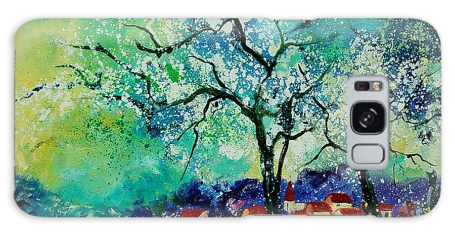 Landscape Galaxy Case featuring the painting Poppies And Appletrees In Blossom by Pol Ledent