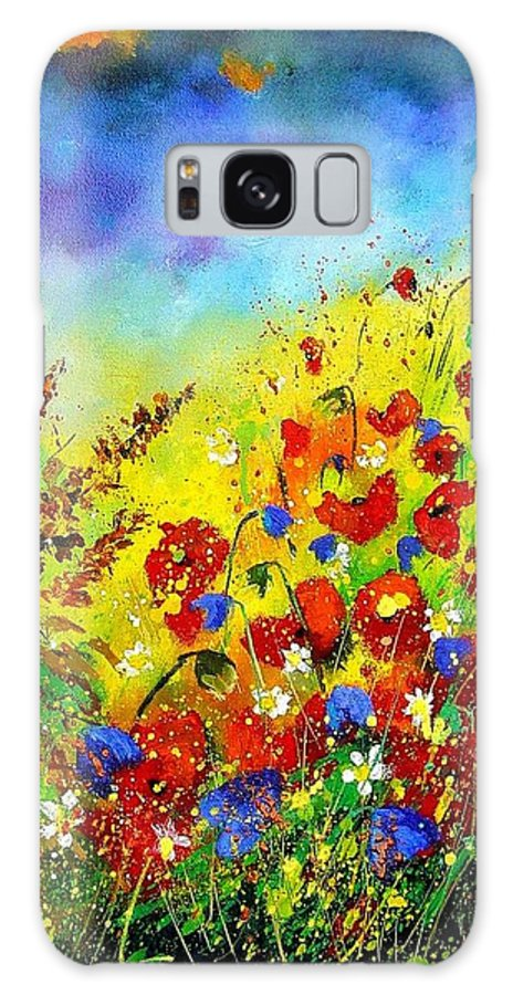 Poppies Galaxy Case featuring the print Poppies And Blue Bells by Pol Ledent