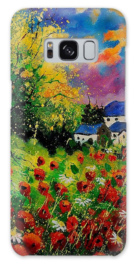 Landscape Galaxy Case featuring the painting Poppies and daisies 560110 by Pol Ledent