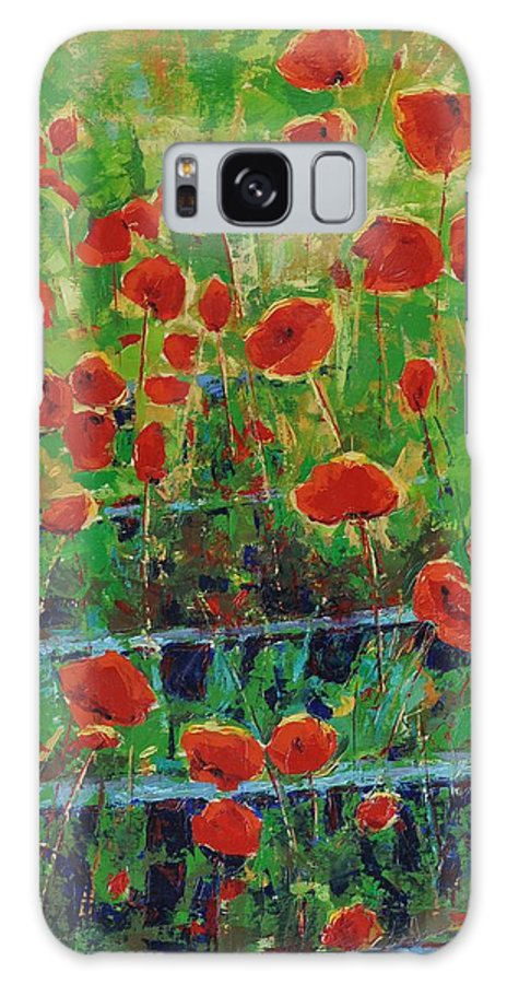 Poppies Galaxy S8 Case featuring the painting Poppies And Traverses 1 by Iliyan Bozhanov