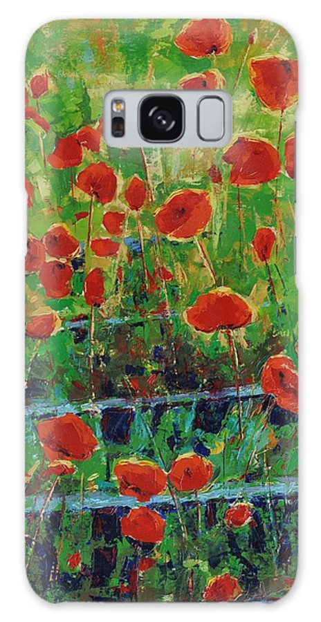 Poppies Galaxy Case featuring the painting Poppies And Traverses 1 by Iliyan Bozhanov