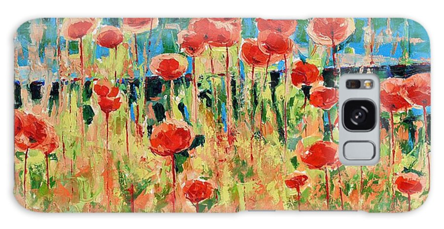 Poppies Galaxy S8 Case featuring the painting Poppies And Traverses 2 by Iliyan Bozhanov