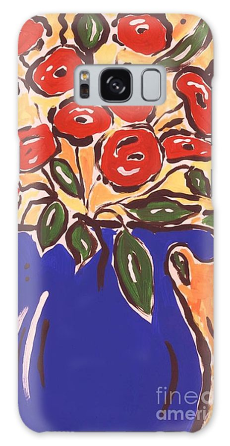 Floral Galaxy Case featuring the painting Poppies In Blue Vase 2001 by Sidra Myers