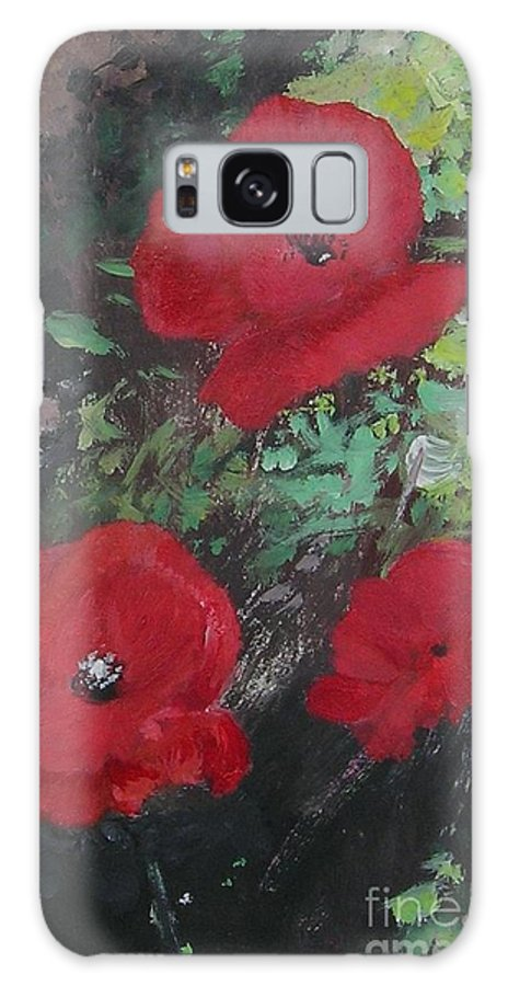 Red Galaxy Case featuring the painting Poppies by Lizzy Forrester