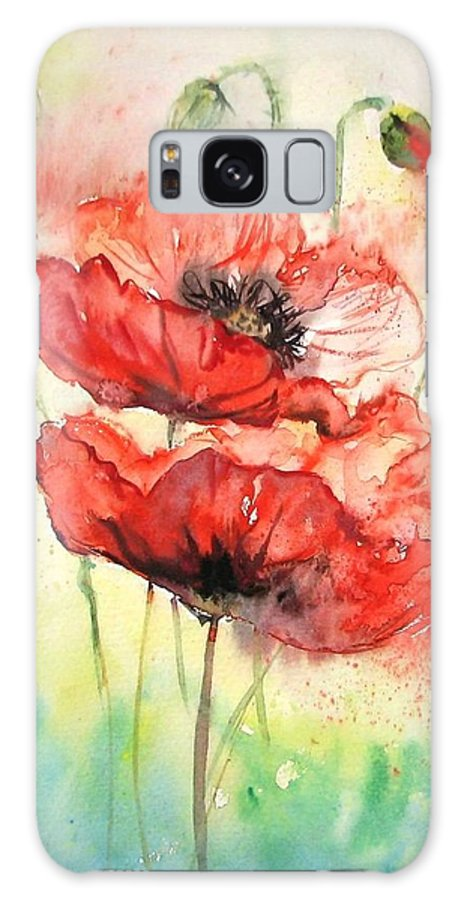 Red Poppy Galaxy Case featuring the painting Poppies by Natalja Picugina