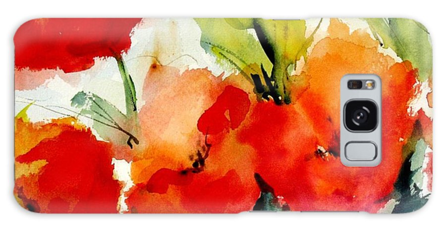 Floral Galaxy S8 Case featuring the painting Poppies by Vesna Grundler