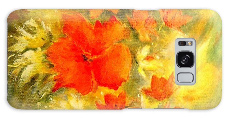Canvas Prints Galaxy Case featuring the painting Poppy Bouquet by Madeleine Holzberg