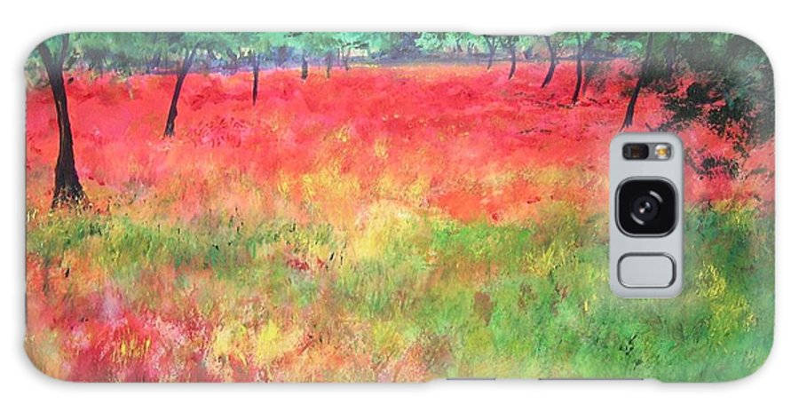 Original Landscape Painting. Poppy Field Galaxy S8 Case featuring the painting Poppy Field II by Lizzy Forrester