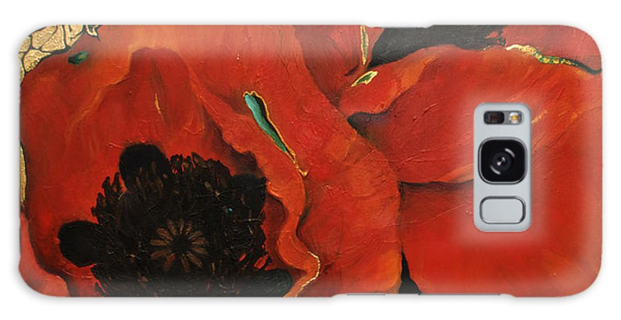 Lin Petershagen Galaxy S8 Case featuring the painting Poppygold by Lin Petershagen