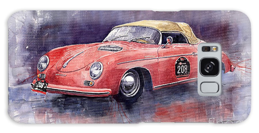 Watercolour Galaxy S8 Case featuring the painting Porsche 356 Speedster Mille Miglia by Yuriy Shevchuk