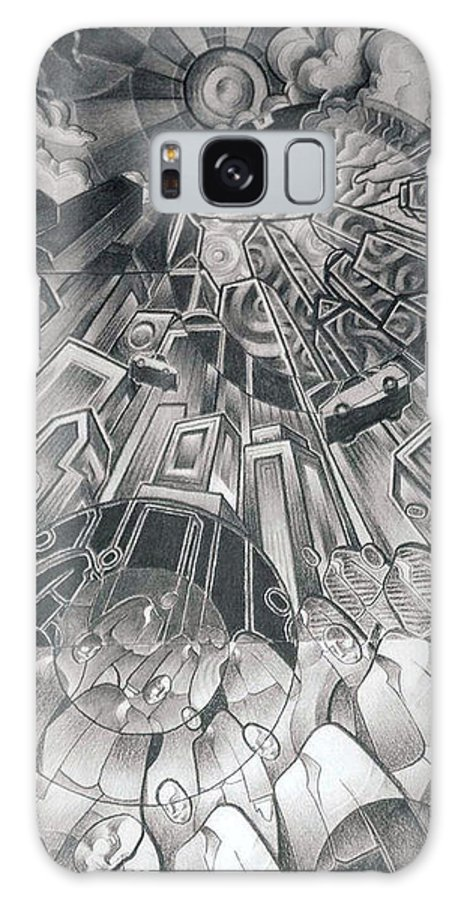 Art Galaxy S8 Case featuring the drawing Portals by Myron Belfast