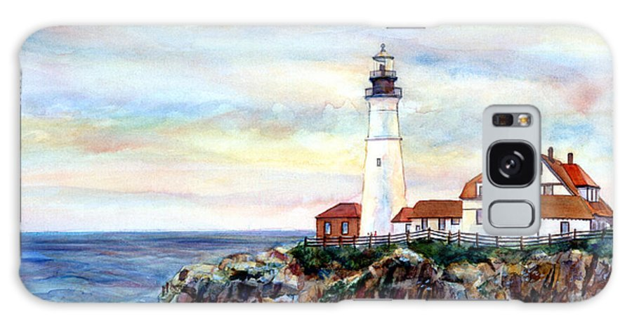 Portland Head Light Galaxy S8 Case featuring the painting Portland Head Light In Maine by Pamela Parsons