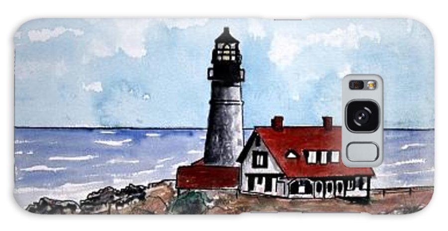 Lighthouse Paintings Galaxy S8 Case featuring the painting Portland Head Lighthouse by Derek Mccrea