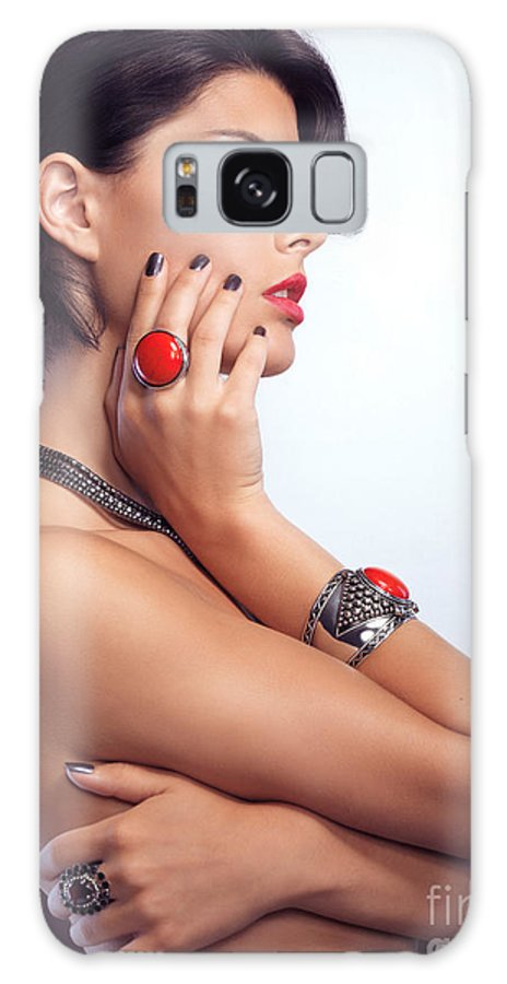Beauty Galaxy S8 Case featuring the photograph Portrait Of A Beautiful Woman Wearing Jewellery by Oleksiy Maksymenko