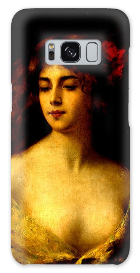 Angelo Galaxy S8 Case featuring the painting Portrait Of A Young Woman by Angelo Asti
