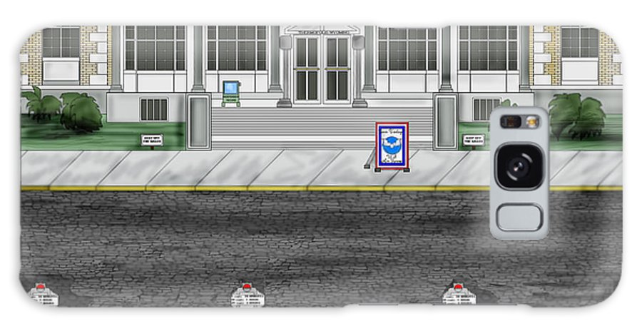 Townscape Galaxy Case featuring the painting Post Office In Thermopolis by Anne Norskog