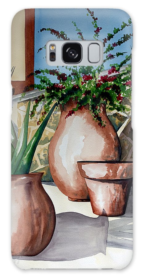 Floral Painting Galaxy S8 Case featuring the painting Pots And Bougainvillea by Kandyce Waltensperger