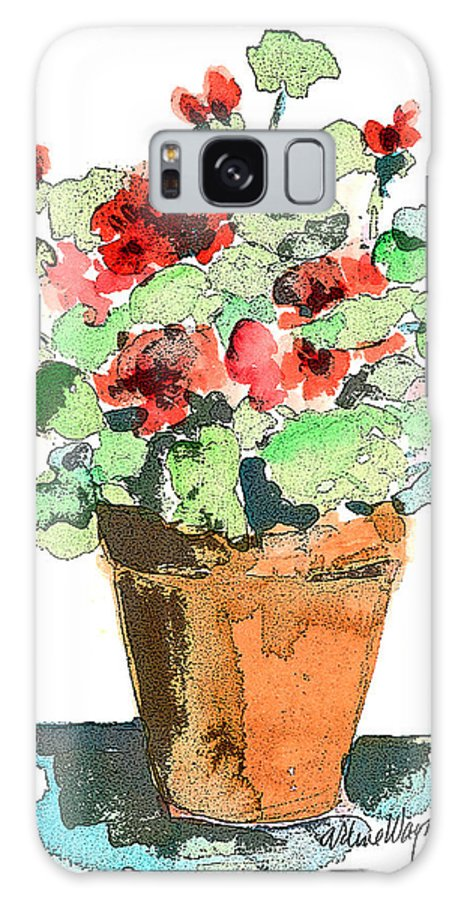 Plants Galaxy S8 Case featuring the painting Potted Geraniums by Arline Wagner