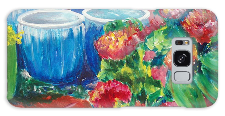 Red Flowers Galaxy Case featuring the painting Potted by Tara Moorman