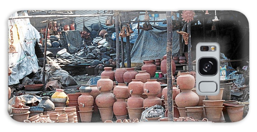 Indai Galaxy S8 Case featuring the photograph Pottery Shop In India by Diana Davenport