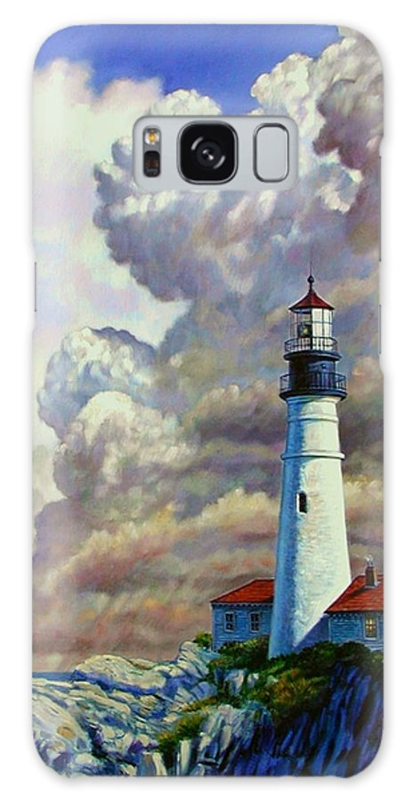 Lighthouse Galaxy S8 Case featuring the painting Powering Up by John Lautermilch