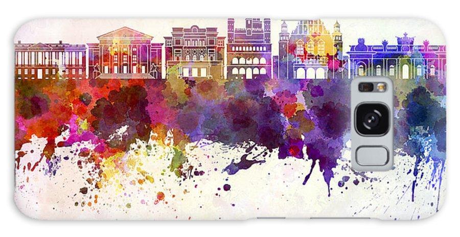 Poznan Skyline Galaxy S8 Case featuring the painting Poznan Skyline In Watercolor Background by Pablo Romero