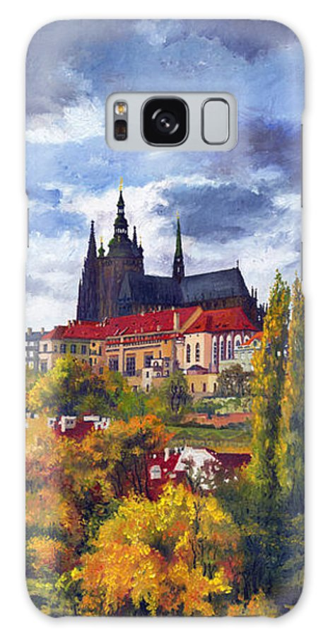 Prague Galaxy S8 Case featuring the painting Prague Castle With The Vltava River by Yuriy Shevchuk