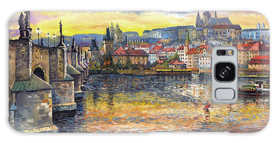 Oil On Canvas Galaxy S8 Case featuring the painting Prague Charles Bridge And Prague Castle With The Vltava River 1 by Yuriy Shevchuk