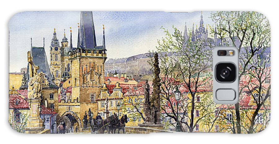 Watercolour Galaxy S8 Case featuring the painting Prague Charles Bridge Spring by Yuriy Shevchuk