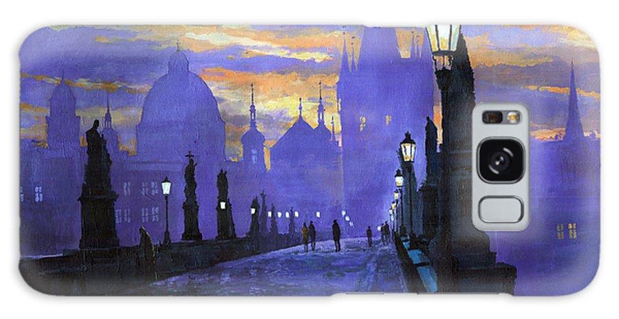 Acrilic On Canvas Galaxy S8 Case featuring the painting Prague Charles Bridge Sunrise by Yuriy Shevchuk