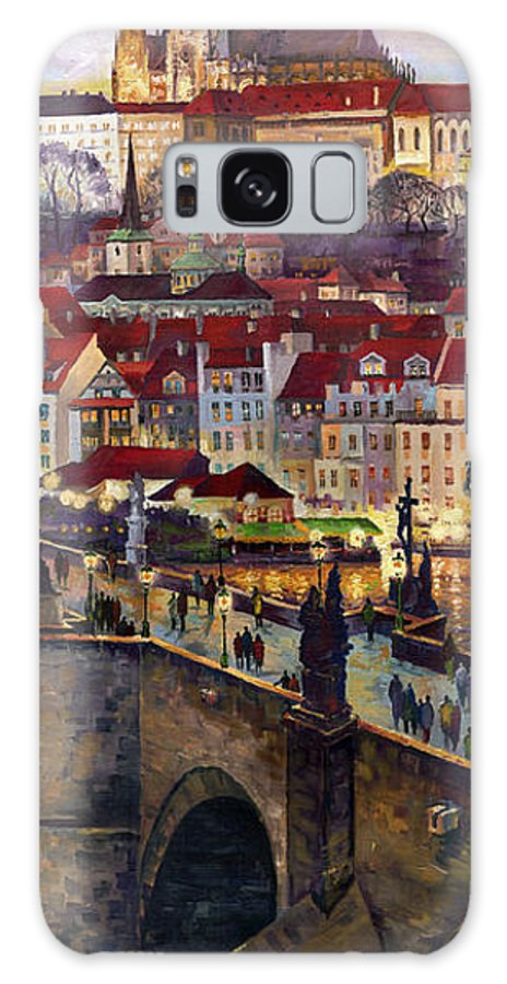 Prague Galaxy S8 Case featuring the painting Prague Charles Bridge With The Prague Castle by Yuriy Shevchuk