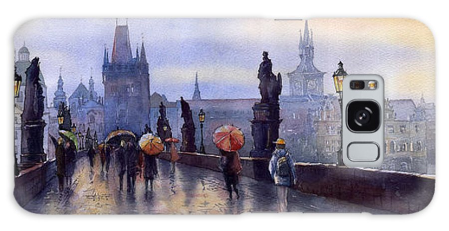 Cityscape Galaxy S8 Case featuring the painting Prague Charles Bridge by Yuriy Shevchuk