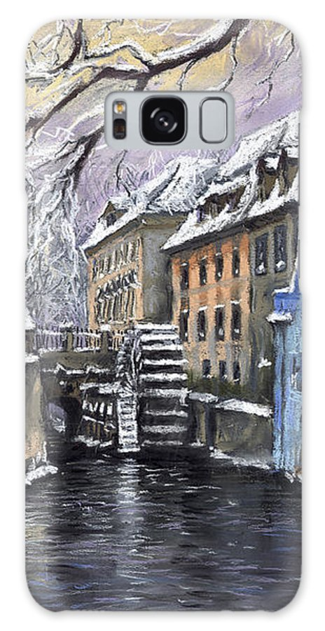 Pastel Galaxy Case featuring the painting Prague Chertovka Winter by Yuriy Shevchuk