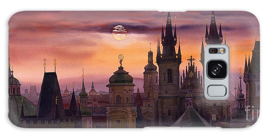 Cityscape Galaxy Case featuring the painting Prague City Of Hundres Spiers by Yuriy Shevchuk
