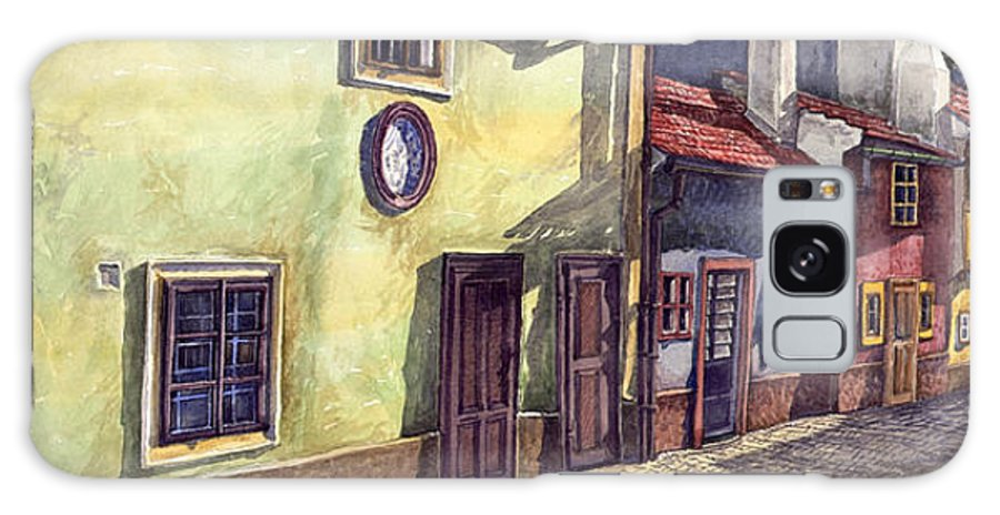 Watercolour Galaxy Case featuring the painting Prague Golden Line Street by Yuriy Shevchuk