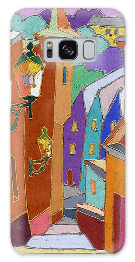 Pastel Galaxy S8 Case featuring the painting Prague Old Steps Winter by Yuriy Shevchuk