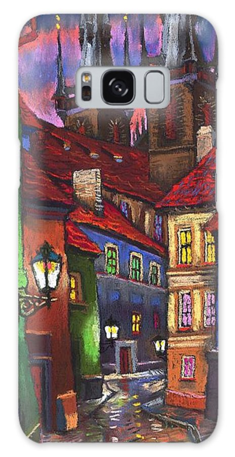 Pastel Galaxy Case featuring the painting Prague Old Street 01 by Yuriy Shevchuk