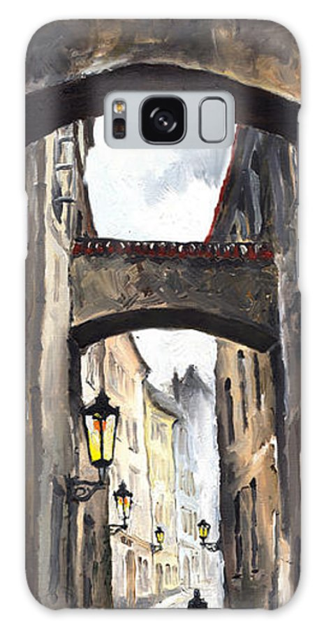 Oil On Canvas Paintings Galaxy S8 Case featuring the painting Prague Old Street 02 by Yuriy Shevchuk