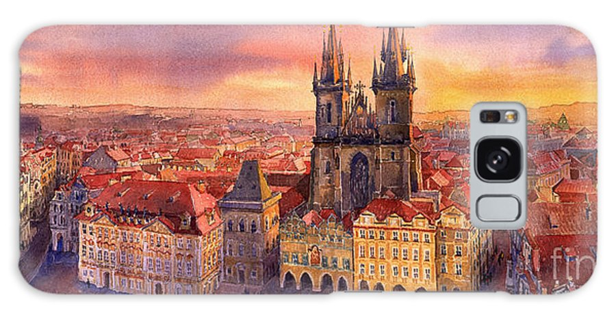 Watercolour Galaxy S8 Case featuring the painting Prague Old Town Square 02 by Yuriy Shevchuk