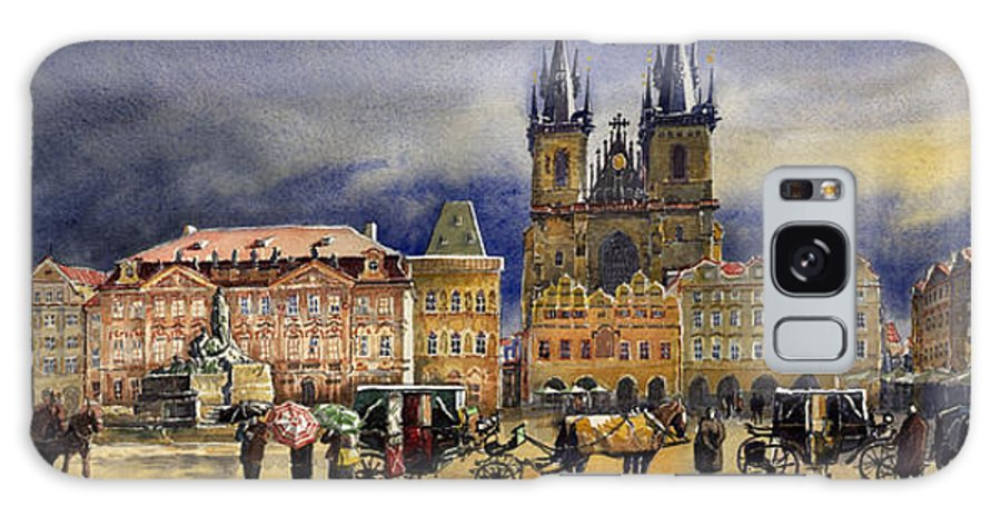 Watercolor Galaxy S8 Case featuring the painting Prague Old Town Squere After Rain by Yuriy Shevchuk