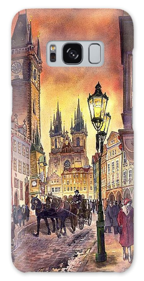 Cityscape Galaxy S8 Case featuring the painting Prague Old Town Squere by Yuriy Shevchuk